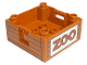 Part No: 47423pb07  Name: Duplo Container Box 4 x 4 with Studs on Corners with 'ZOO' Text Pattern