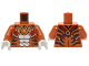 Part No: 973pb1921c01  Name: Torso Black Bare Chest with Tiger Stripes, Dark Red and Gold Armor with Straps and Fire Chi Emblem Pattern / Dark Orange Arms / White Hands
