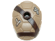Part No: 16643pb002  Name: Minifigure, Turtle Shell with Stud with Dark Brown Horizontal and Diagonal Belt with Words 'Mikey was Here!' and Silver Patches Pattern