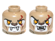 Part No: 3626cpb0882  Name: Minifig, Head Dual Sided Alien Chima Lion with Fangs, Bright Light Orange Eyes, Dark Red Scar, Closed Mouth / Open Mouth Pattern - Stud Recessed