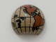 Part No: 61287pb001  Name: Cylinder Hemisphere 2 x 2 with Cutout with the Americas and South Pacific Reddish Brown Globe Pattern