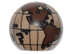 Part No: 61287pb005  Name: Cylinder Hemisphere 2 x 2 with Cutout with the Americas and South Pacific Dark Brown Globe Pattern