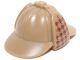 Part No: 95319pb01  Name: Minifigure, Headgear Hat, Deerstalker with Dark Red Houndstooth Check on Ear Flaps Pattern