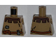 Part No: 973pb0537  Name: Torso Castle Fantasy Era Peasant Shirt with Dark Brown Collar and Rope Belt Pattern