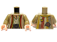 Part No: 973pb0648c01  Name: Torso Arabian Robe with Pendant and Patches Pattern / Dark Tan Arms / Light Flesh Hands