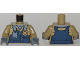 Part No: 973pb2918c01  Name: Torso Town Police Flight Suit with Name Tag and Gold Badge Pattern / Dark Tan Arms / Dark Bluish Gray Hands
