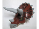 Part No: TriHeadc01pb01  Name: Dino Head Triceratops with Pin, Light Bluish Gray Horns and Reddish Brown Top with Dark Brown Pattern