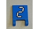 Part No: 2335pb114  Name: Flag 2 x 2 Square with White Number 2 with Black Outline on Blue Background Pattern (Sticker) - Set 3569