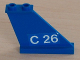 Part No: 2340pb026R  Name: Tail 4 x 1 x 3 with White 'C 26' on Blue Background Pattern on Right Side (Sticker) - Set 4022