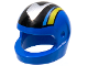 Part No: 2446pb17  Name: Minifigure, Headgear Helmet Standard with Silver/Black/Medium Blue/Yellow Pattern (Set 8364)