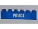 Part No: 3009pb164  Name: Brick 1 x 6 with White 'POLICE' Small Bold Narrow Font on Blue Pattern (Sticker) - Set 4441