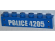 Part No: 3009pb171  Name: Brick 1 x 6 with 'POLICE 4205' Pattern (Sticker) - Set 4205
