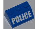 Part No: 3038pb07  Name: Slope 45 2 x 3 with White 'POLICE' Bold Narrow Font on Blue Background Pattern (Sticker) - Set 4440