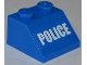 Part No: 3039pb070  Name: Slope 45 2 X 2 with White 'POLICE' Bold Narrow Font on Blue Background Pattern (Sticker) - Set 4205