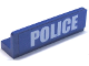 Part No: 30413pb013  Name: Panel 1 x 4 x 1 with White 'POLICE' Bold Narrow Font Large on Blue Background Pattern (Sticker)