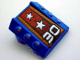 Part No: 30603pb06  Name: Brick, Modified 2 x 2 No Studs, Sloped with 3 Side Pistons Raised and '30', Silver Stars Pattern