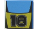 Part No: 3068bpb0022  Name: Tile 2 x 2 with Groove with Number 18 and Medium Blue / Yellow Stripes Pattern