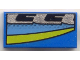 Part No: 3069bpx56  Name: Tile 1 x 2 with Blue, Black, Silver, and Yellow Stripes Right Pattern