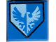 Part No: 3070bpb100  Name: Tile 1 x 1 with Groove with Blue and White Falcon on Pentagonal Shield Pattern