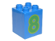 Part No: 31110pb080  Name: Duplo, Brick 2 x 2 x 2 with Number 8 Green Pattern