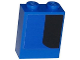 Part No: 3245cpb039R  Name: Brick 1 x 2 x 2 with Inside Stud Holder with Curved Thick Black Stripe on Blue Background Pattern Model Right Side (Sticker) - Set 75875