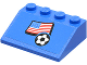 Part No: 3297pb020  Name: Slope 33 3 x 4 with Flag of USA and Soccer Ball on Blue Background Pattern (Sticker) - Set 3406