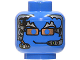 Part No: 3626bpx139  Name: Minifig, Head Alien with Silver Hair, Copper Glasses and Headset Pattern - Blocked Open Stud