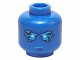 Part No: 3626cpb1415  Name: Minifigure, Head Dark Azure Eyebrows, Mouth and Eyes with Lightning Pattern (Jay) - Hollow Stud
