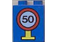 Part No: 4066pb072  Name: Duplo, Brick 1 x 2 x 2 with Road Sign Speed Limit 50 Pattern
