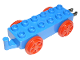 Part No: 4559c01  Name: Duplo, Train Base 2 x 6 with Red Train Wheels and Moveable Hook