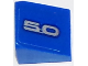 Part No: 54200pb075L  Name: Slope 30 1 x 1 x 2/3 with Silver '5.0' on Blue Background Pattern Model Left Side (Sticker) - Set 75871