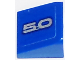 Part No: 54200pb075R  Name: Slope 30 1 x 1 x 2/3 with Silver '5.0' on Blue Background Pattern Model Right Side (Sticker) - Set 75871