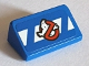 Part No: 85984pb195  Name: Slope 30 1 x 2 x 2/3 with Ghostbusters Logo on Blue and White Danger Stripes Pattern (Sticker) - Set 75827