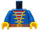 Part No: 973p34c01  Name: Torso Pirate Open Jacket over Striped Vest Pattern / Blue Arms / Yellow Hands