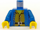 Part No: 973p39c01  Name: Torso Pirate Open Jacket, Brown Shirt, Silver Buttons Pattern / Blue Arms / Yellow Hands