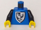 Part No: 973p43c01  Name: Torso Castle Black Falcon Pattern Old Style Torso with Rounder Bottomed Shield / Black Arms / Yellow Hands