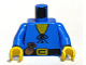 Part No: 973p46c02  Name: Torso Castle Forestman Tie Shirt and Purse Pattern / Blue Arms / Yellow Hands