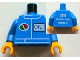 Part No: 973pb1173c01  Name: Torso Octan Logo and OIL Front, 2011 The LEGO Store Sunrise, FL Back Pattern / Blue Arms / Yellow Hands