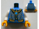 Part No: 973pb1334c01  Name: Torso Robe with Gold and Dark Blue Collar and Dark Azure Round Jewel (Chi) Pattern / White Arms / Yellow Hands