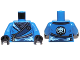 Part No: 973pb1571c01  Name: Torso Ninjago Robe with Silver Buckles and Lightning Power Emblem Pattern / Blue Arms / Black Hands