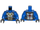 Part No: 973pb1728c01  Name: Torso Armor Plate with Straps and Nova Corps Markings Pattern / Blue Arms / Dark Bluish Gray Hands
