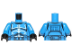 Part No: 973pb1844c01  Name: Torso SW Armor Clone Trooper with White Senate Commando Captain Markings with Belt with Pockets Pattern / Blue Arms / Black Hands