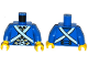 Part No: 973pb1926c01  Name: Torso Pirate Bluecoat Soldier Pattern / Blue Arms / Yellow Hands