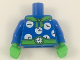 Part No: 973pb2933c01  Name: Torso with Green Scarf and Belt, 7 White Clocks Pattern / Blue Arms with 3 Clocks Pattern / Bright Green Hands