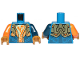 Part No: 973pb3034c01  Name: Torso Nexo Knights Armor, White and Orange Emblem with Falcon Pattern / Dark Blue Left Arm / Orange Right Arm / Pearl Gold Hands