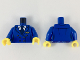 Part No: 973pb3358c01  Name: Torso Female Jacket, White Shirt, Dark Blue Tie, Gold Wings Badge and Buttons Pattern / Blue Arms / Yellow Hands