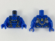 Part No: 973pb3389c01  Name: Torso Female Armor, Black Panel Lines, Gold and Copper Highlights Pattern / Blue Arms / Blue Hands