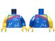 Part No: 973pb3436c01  Name: Torso Female Top, Magenta Trim, Silver Bubbles Pattern / Blue Left Arm with Silver Bubbles Pattern / Yellow Right Arm / Yellow Hands