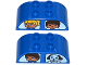 Part No: 98223pb006  Name: Duplo, Brick 2 x 4 Curved Top with Double Window with Duplo Girl and Boy / Boy and Dog Pattern