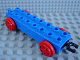 Part No: duptrain01  Name: Duplo, Train Base 2 x 8 with Red Train Wheels and Movable Hook